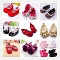 Симпатичные девочки детские кроватки обувь бантом кружева мягкой подошвой Prewalker малыша обувь