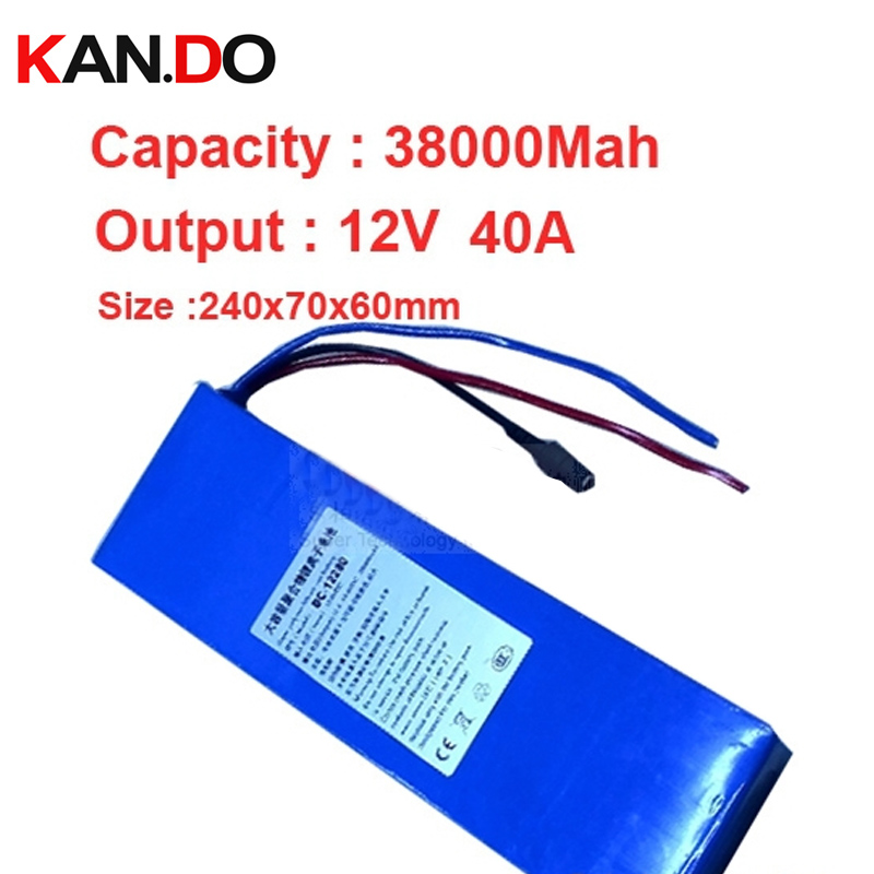 capacity 38A,discharge current 40A,w/ 3A charger 12V battery pack,polymer lithium battery pack high capacity li-ion battery pack bow 929054
