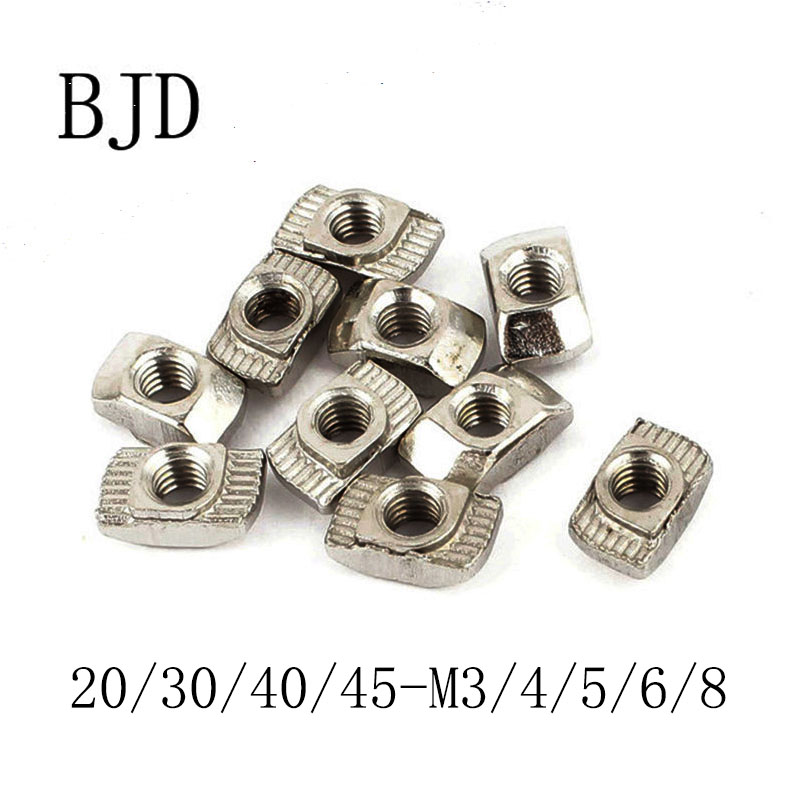 50pcs 20/30/40/45-M3/M4/M5/M6/M8 Nickel Plated T nut Hammer Head Fasten Nut for Aluminum Extrusion Profile series Slot Groove цена