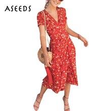 2018 Sexy v neck wrap chiffon dresses Summer retro Cherry flower print beach dress Casual puff sleeve midi boho dress vestidos