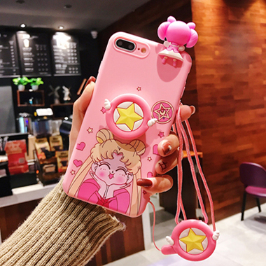 Sailor Moon Cute Pink Silicone Phone Case With Lanyard For iphone 6 7 8 TPU Soft Cover Case For iphone X XR Mobile Phone Cover
