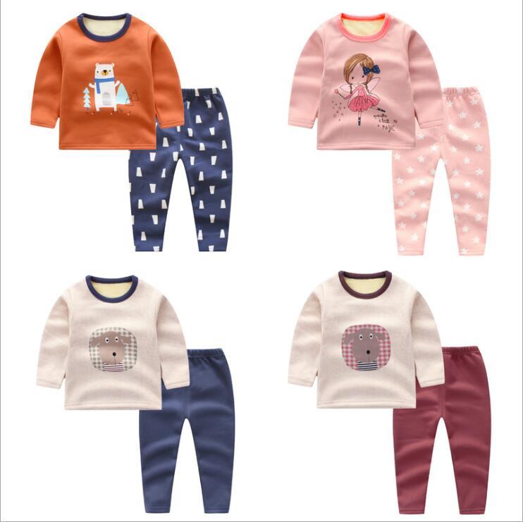 kids boys girls plus velvet thick clothes set baby winter warm pajamas jammies suit 2PCS/LOT children Outfit underwear pants