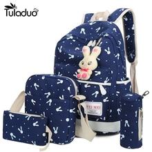 4Pcs/Sets 2017 Women Backpacks Cartoon Rabbit Printing School Backpack Canvas Schoolbags for Teenage Girls Students Bag Children