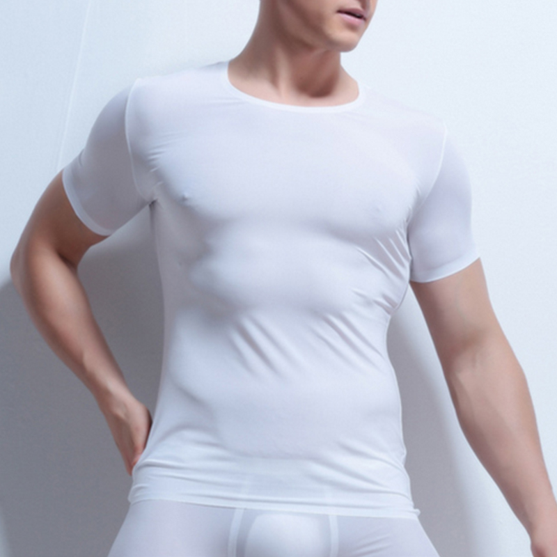 Men Sexy Slim Tight Tops T-Shirts Compression Tee Fitness O-Neck Solid Short Sleeve Ice Silk T Shirt Superthin Sleep Undershirt(China)