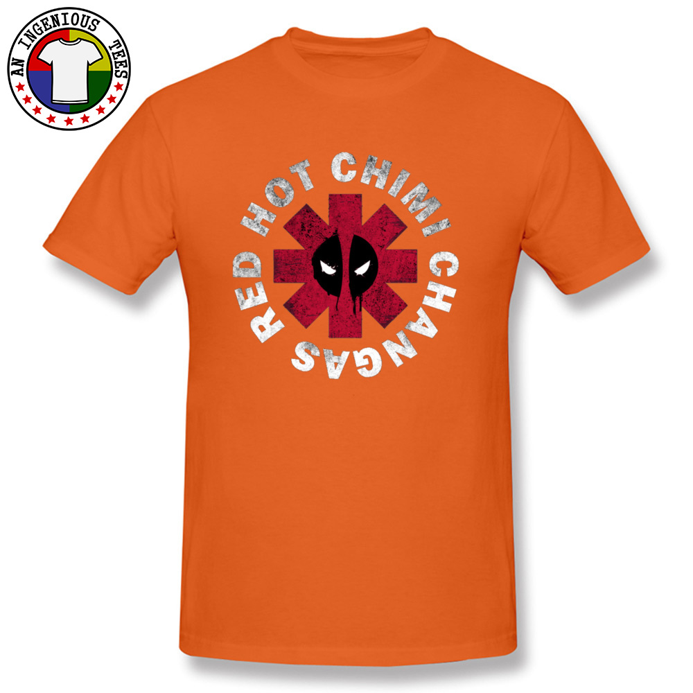 Slim Fit Deadpool Red Hot Chimi 1226 Short Sleeve April FOOL DAY Tops Shirt New Coming O Neck All Cotton Tee-Shirt Male Tshirts Deadpool Red Hot Chimi 1226 orange