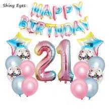 Shiny Eyes 32inch Gradient Rainbow Foil Balloons Star Ball 18 21 30 40 50th Happy birthday Party  Latex Decor