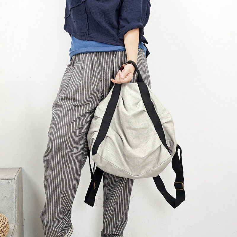 2019 women canvas vintage backpacks casual Fold bags ladies school backpack knapsack cotton patchwork rucksack linen