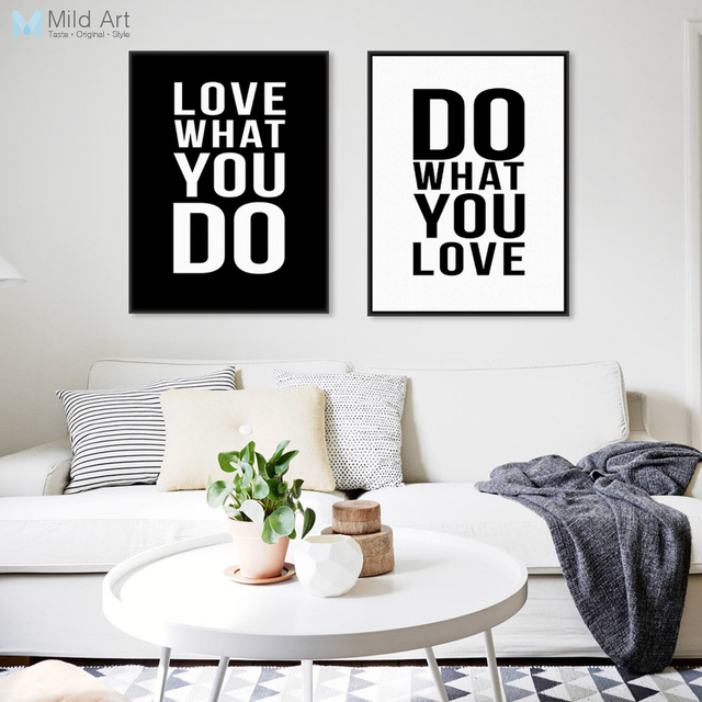 Minimalist Black White Motivational Typography Love Quotes A4 Poster Print  Vintage Picture Canvas Painting Wall Art
