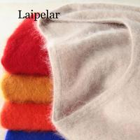 Laipelar Super Warm Fluffy Mink Cashmere Soft Fur O neck Sweaters and Pullovers for Women Autumn Winter Female