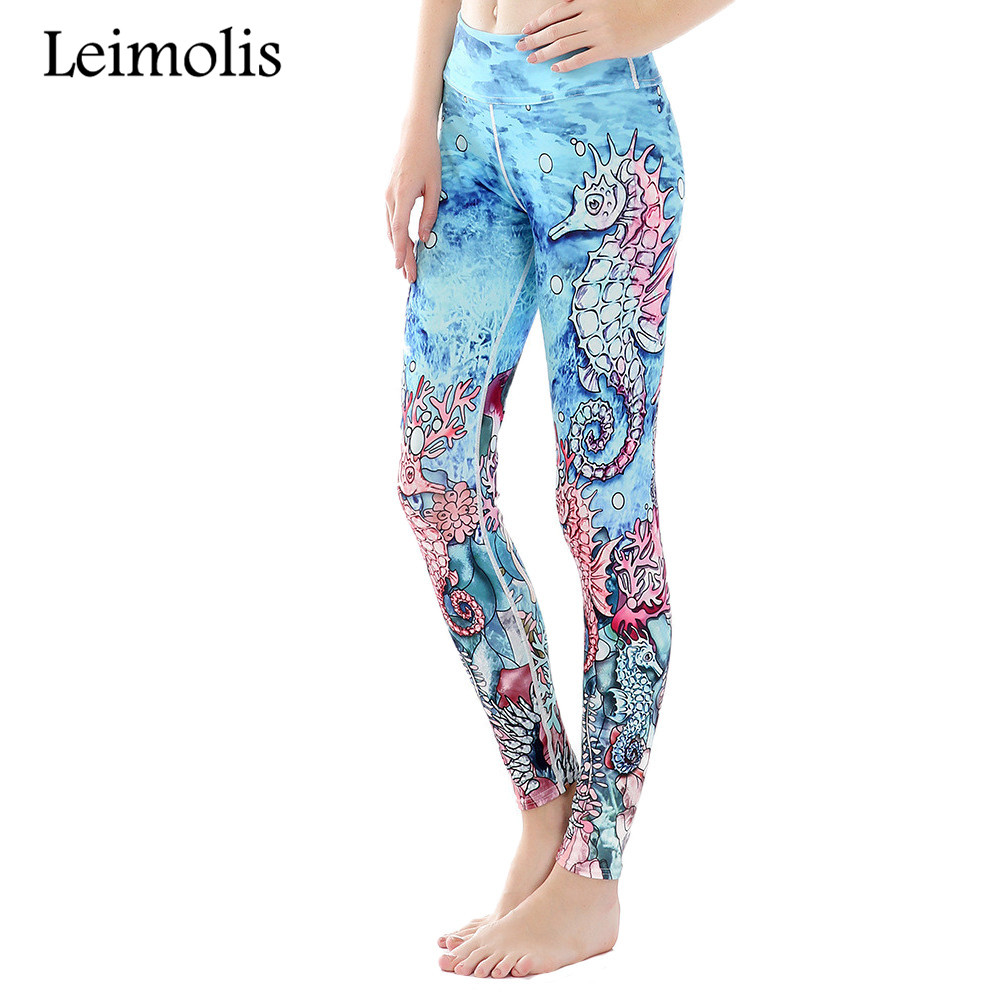 Leimolis 3D print seahorses octopus Scale winter Harajuku High Waist workout push up plus size fitness   leggings   women pants