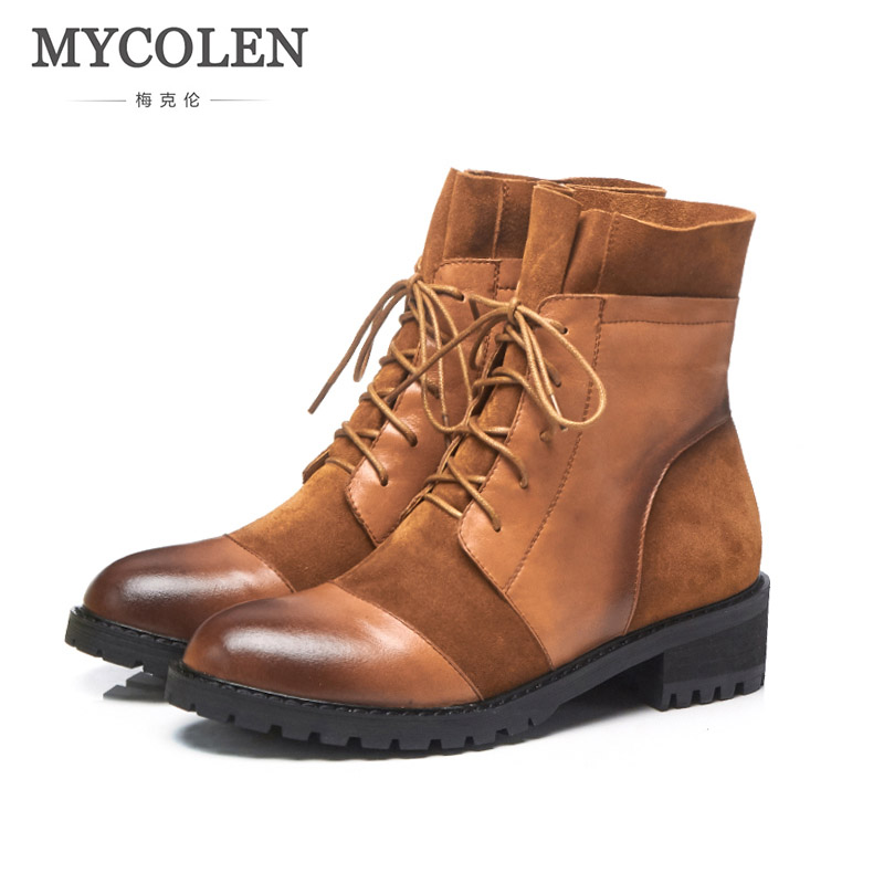 MYCOLEN Genuine Leather Women Martin Boots Winter Warm Shoes Feminina Female Motorcycle Ankle Fashion Boots Women Botas Mujer flat with genuine leather women martin boots winter warm shoes botas feminina female motorcycle ankle fashion boots women botas