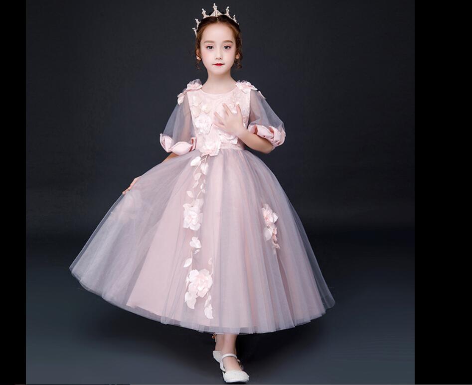 Fleur filles robe pour mariage soirée enfants princesse fête Pageant robes longues robe pour filles vêtements formels HW2377