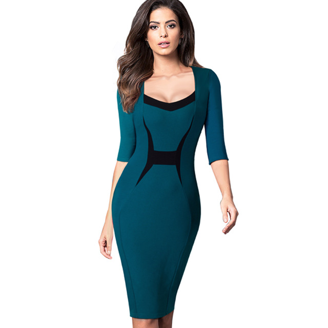 392741f1dd6 Autumn Elegant Professional Women ColorBlock Contrasting Casual Wear To Work  Business Fitted Sheath Bodycon Pencil Dress