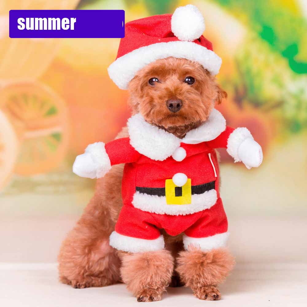 Warm winter pet dog coat jacket small dog Christmas Santa costume Claus Apparel cosplay pet Fleece Pajamas Coat Jumpsuit Hoodie