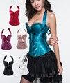 Más blanco del tamaño corsés top sexy push up corset bustier shaper extraíble staps silueta preto púrpura/azul/rojo/negro corsé
