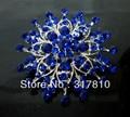 Silver Plated Royal Blue Rhinestone Crystal Diamante Large Wedding Brooch Pin