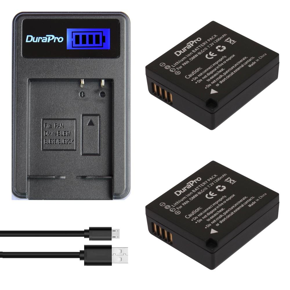 2pc DuraPro DMW-BLG10 DMWBLG10 BLG10 BP-DC15 BPDC15 Li-ion Battery + LCD Charger for Panasonic LUMIX GF5 GF6 GX7 LX100 GX80 GX85 vcr 2 pc от ion audio
