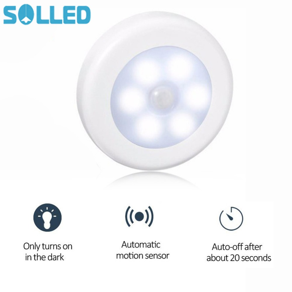 6LED PIR Body Motion Sensor Activated Wall Light Night Light Induction Lamp Closet Corridor Cabinet led Sensor Light battery цена