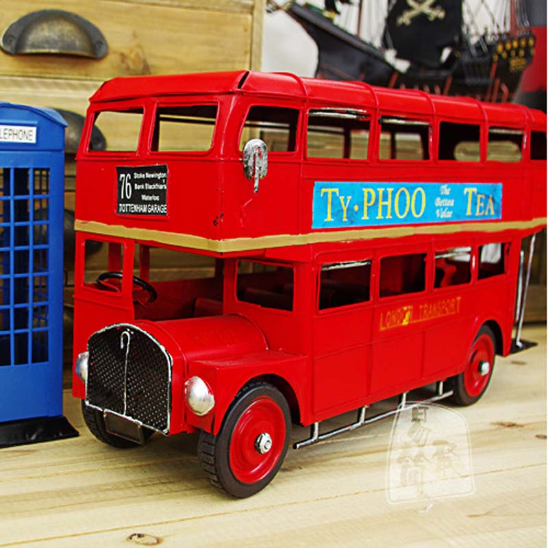 New Collectible Retro Red Classic London Bus Car Models