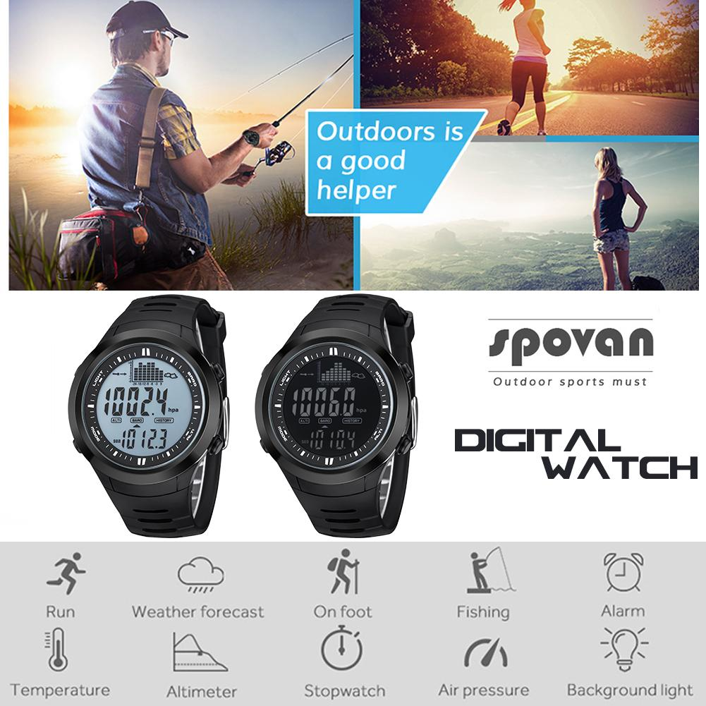 цена на Fishing Watch Barometer 5ATM Waterproof Thermometer Altimeter Men Military Sports Digital Wristwatches Spovan Weather Forecast