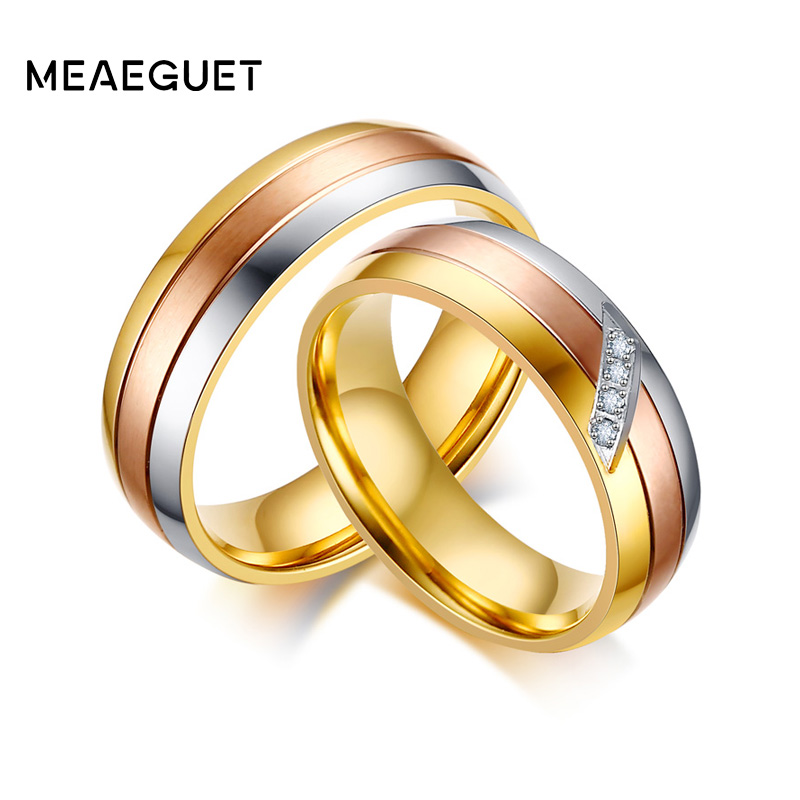 Meaeguet Gold color Stainless Steel Wedding Band For Women ...