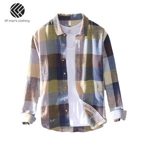 Image 5 - 男性春と秋のファッションブランド中国カラフルなチェック柄のコットンリネン長袖シャツ男性カジュアル薄型シャツ