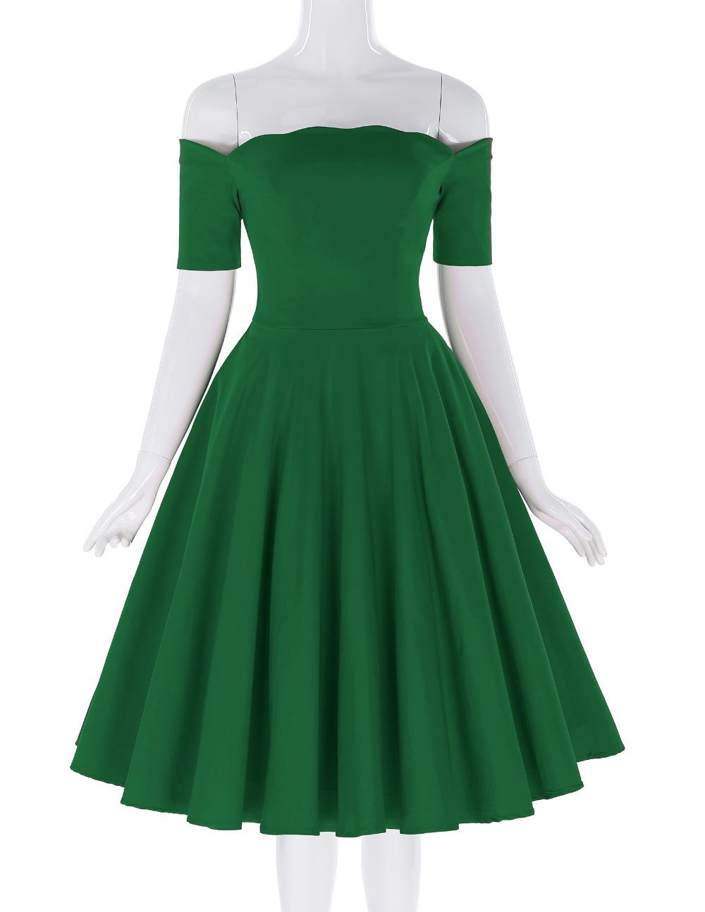 Belle Poque 17 Women Dress Robe Vintage Off Shoulder Black Summer Dress Jurken 1950s 60s Retro Rockabilly Swing Party Dresses 21