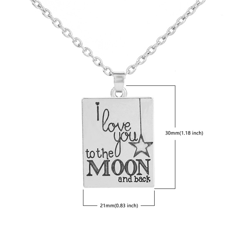 Romantic Message I love you to the Moon and Back Pentagram Star Pendant Necklace