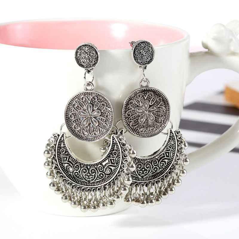 1 par étnico de Dali Jhumka Jhumki oro brocado loto México Gypsy cuelga pendiente joyería de moda regalos de navidad nuevo