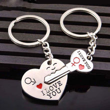 2pcs Fashion Love Heart Key Ring Keyfob Couples Romantic Keychain Lover Gift