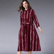 Women casual fashion Striped loose dresses Large size ladies' long sleeve Elegant dress high waist long dress Spring new Black цены