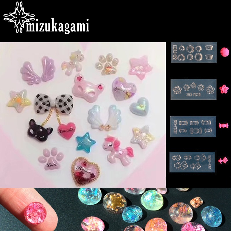 1pcs UV Resin Jewelry Liquid Silicone Mold Goldfish Heart Sugar Resin Charms Molds For DIY Intersperse Decorate Making Jewelry