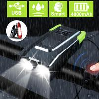 4000mAh Induction Bicycle Front Light Set USB Rechargeable 15000 Lumens Smart Headlight With Horn LED Bike Lamp Cycle bike Light