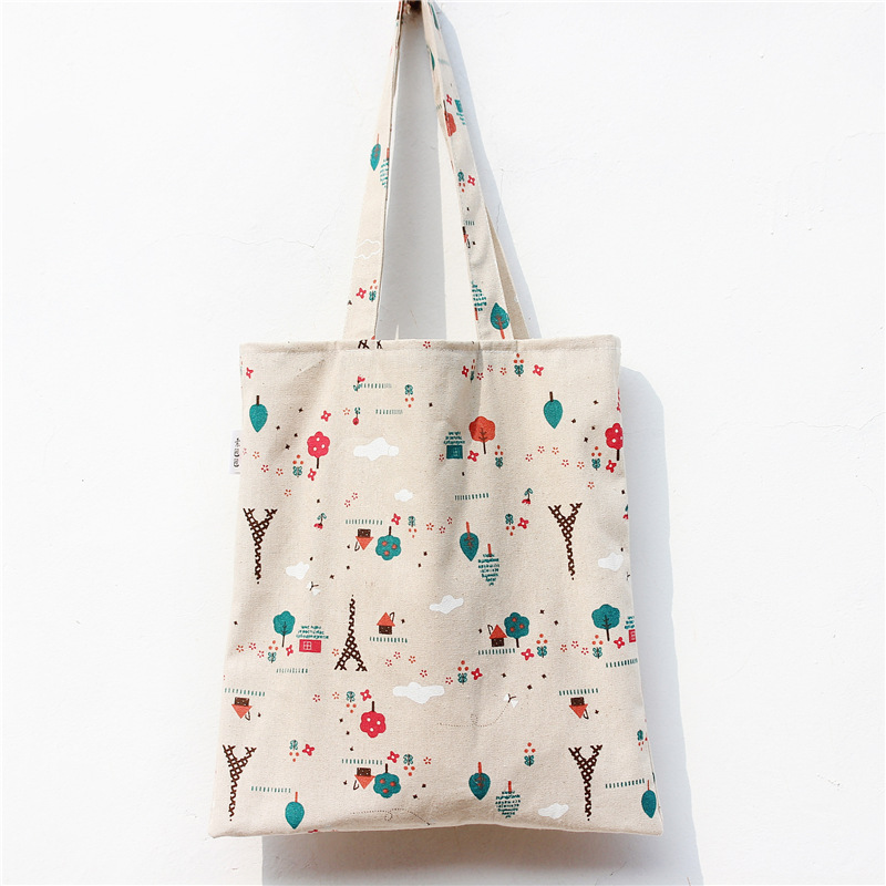 YILE Cotton Linen Shopping Tote Shoulder Carrying Bag Eco Reusable Bag Printed Tree Towel NEW L018 charming anchor printed square new composite linen blend pillow case