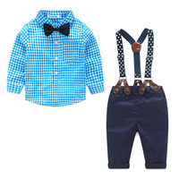 Newborn Baby Boy Clothes Set Birthday Christening Toddler Infant Baby Boys Formal Wedding Clothes Suit Plaid