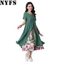 2017 New Summer Dress Short Sleeve Cotton Linen Ladies Lotus Long Dress Fake Two Pieces Women