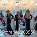 Sexy Robe De Soiree Long Sleeve Lace Abendkleider See Though Back Button Covered Mermaid Evening Dress Black Vestido Longo