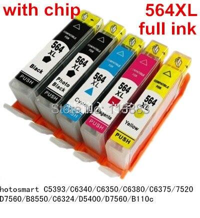 hp564XL 564 XL compatible ink cartridge For HP Photosmart C5393/C6340/C6350/C6380/C6375/7520/D7560/B8550/C6324/D5400/D7560/B110c