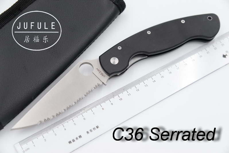 JUFULE OEM Serrated C36 C81 Real D2 61 HRC Camping Hunting MULTI Survival Pocket Outdoors EDC