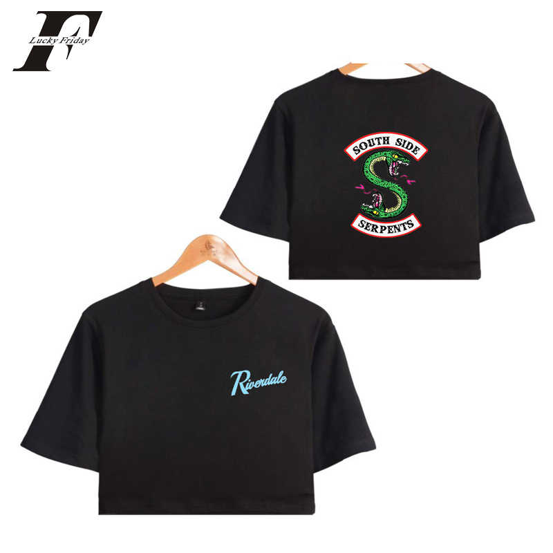 Riverdale south side serpents 2018 Summer Funny  Bare Midriff Top Women T-shirts Sexy Short Sleeve Riverdale Crop top 4xl
