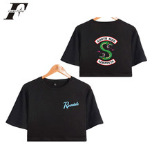 9d30b59a1085 BTS Riverdale south side serpents 2018 Summer Funny Bare Midriff Top Women  T-shirts Sexy Short Sleeve Riverdale Crop top 4xl