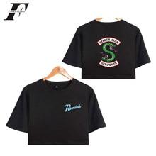 Blusa de manga curta engraçada riverdale, top midriff de manga curta sexy do lado do sul de riverdale, 4xl, verão 2018