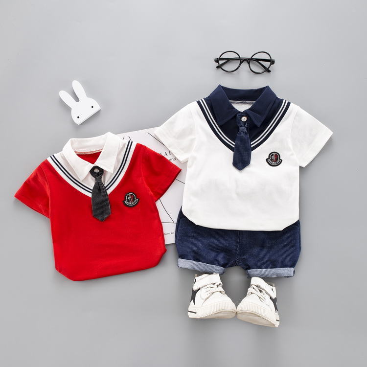 2019 Summer time Child Women Boys Clothes Units Toddler Toddler Tie Garments Fits Lapel T Shirt Shorts Youngsters Kids Costume Clothes Units, Low cost Clothes Units, 2019 Summer time...