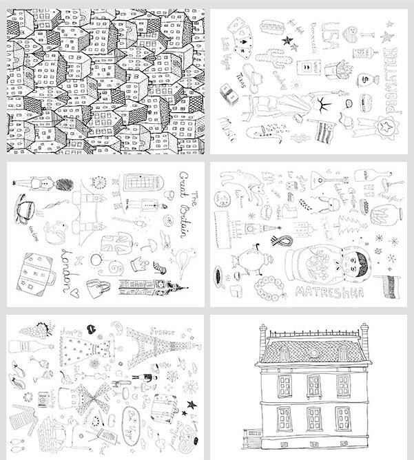 10 X (Cards + Envelopes ) / set , DIY Inky city life postcards , DIY ...