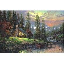 Forest Chalet Landscape Fluorescent paper puzzle 1000 pieces Noctilucent jigsaw puzzles for adults kids
