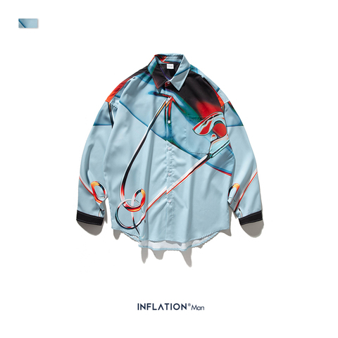 INFLATION Streetwear Men Shirt Long Sleeve Streetwear Shirts Loose Shirts 2019 Autumn New Digital Printing Men Shirts 92150W Multan