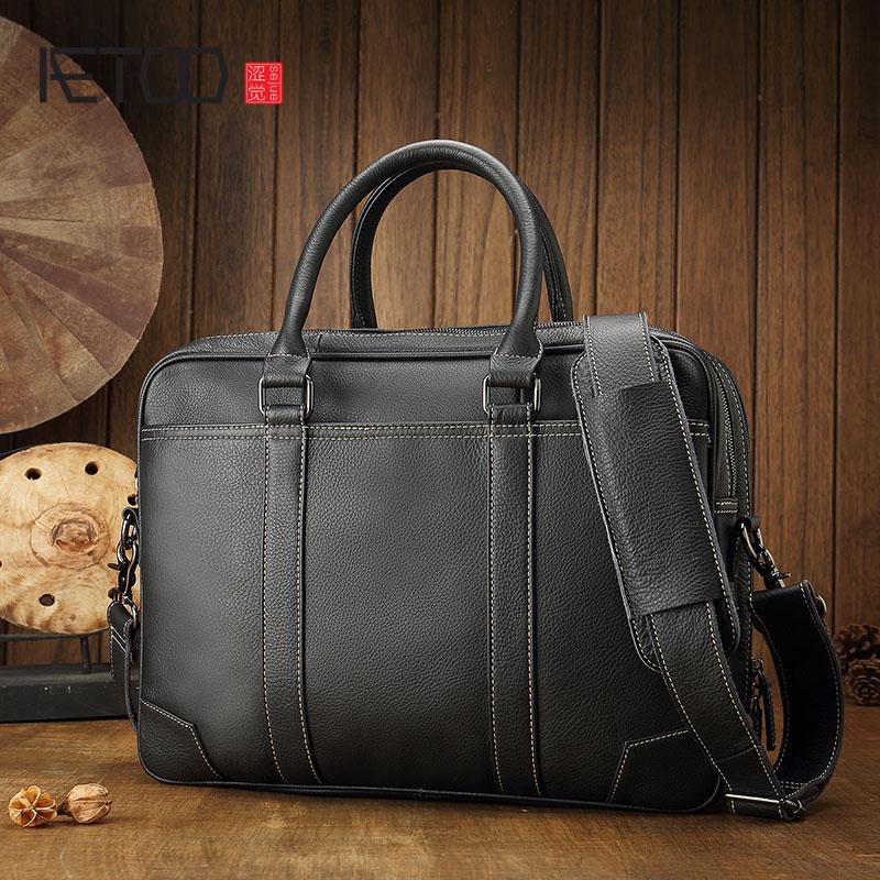 AETOO Cow Leather men's casual briefcase shoulder bag large computer bag cross section business leather retro men's bag handbag недорго, оригинальная цена