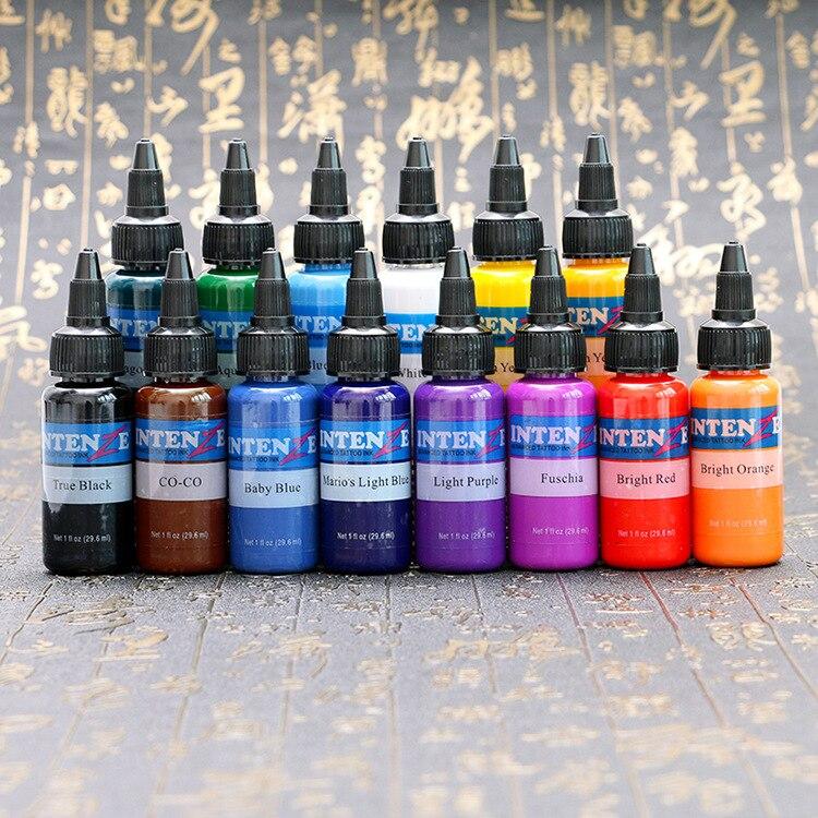 Чернила татуировки В наличии 14 цветов 30 мл/бутылки татуировочный Пигмент чернил Набор для тату бодиарта комплект