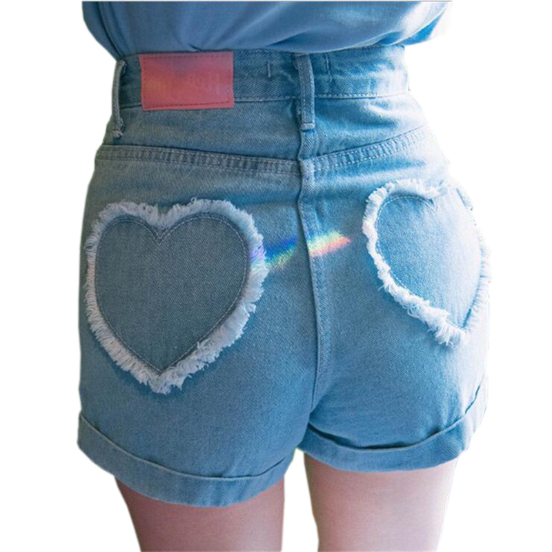 Hair Whisker Love Ripped Women's Denim Shorts Harajuku Tassel High Waist Short Pants All Match Short Feminino Cintura Alta