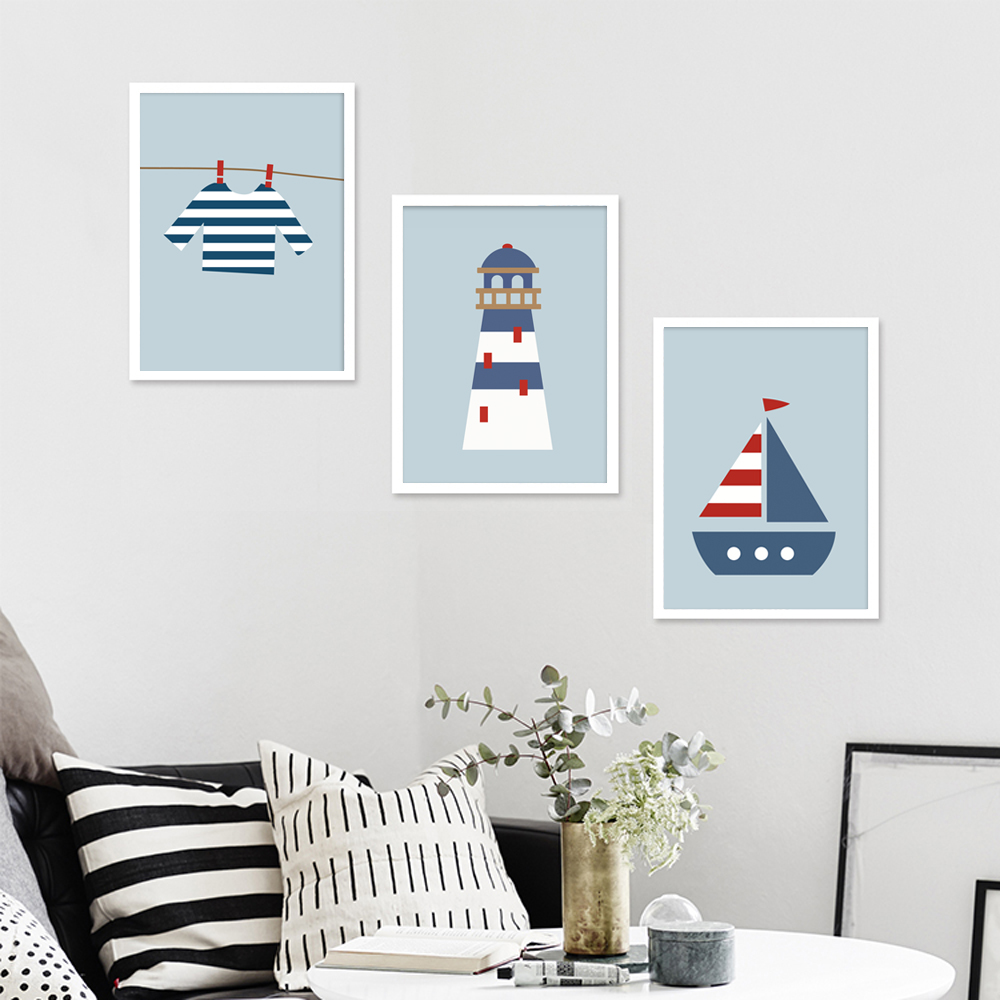 line Shop Modern Gaya Angkatan Laut Kanvas Cetak Lukisan Poster dari Perahu Layar dan Mercusuar Tanpa Bingkai Lucu Gambar Dinding untuk Dekorasi Rumah